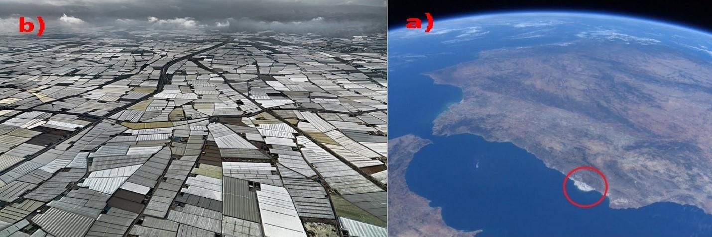 شکل-1) منطقه آلمریا در جنوب اسپانیا، (a تصویر فضایی و مشخص بودن پوشش گلخانه ای، (b تصویر هوایی.