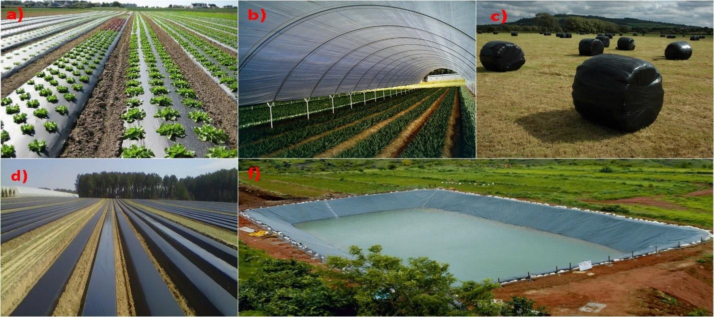 شکل-2) انواع کاربردهای فیلم های پلیمری در کشاورزی: a) فیلم های مالچ، b) پوشش های گلخانه ای و تونلی، c) فیلم های بسته بندی سیلاژ، d) فیلم های ضد عفونی کننده و سولاریزه کننده خاک، f) ژئوممبرین.